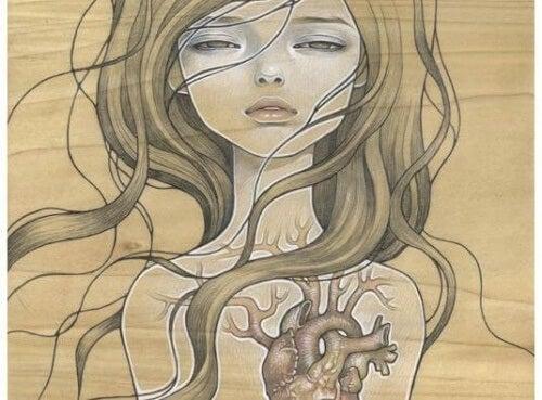 ragazza con cuore spezzato