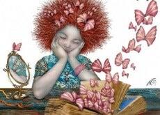 ragazza triste con farfalle che volano
