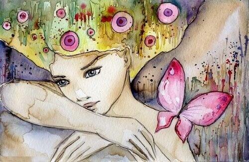 donna con farfalle solitudine