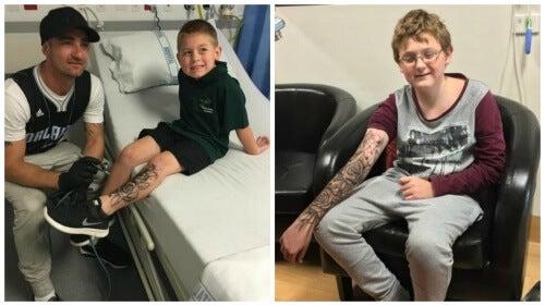 Tatuaggi temporanei ai bambini in ospedale