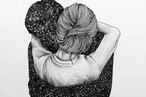 disegno abbracci uomo e donna