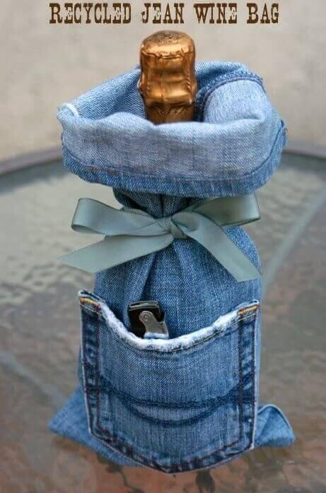 Busta bottiglia jeans