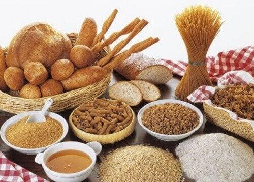pane, pasta, riso e sale integrali