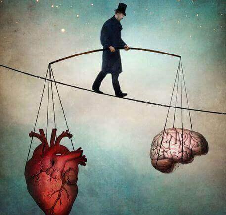 funambolo che regge cuore e cervello