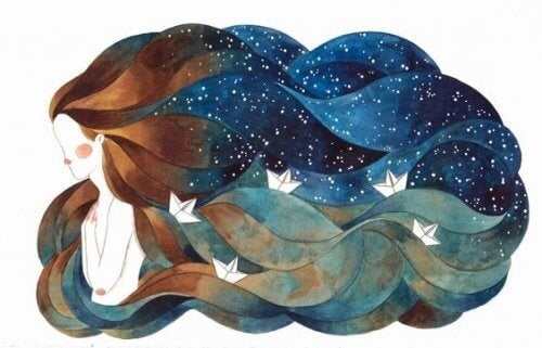 Donna con oceano tra i capelli Il tempo