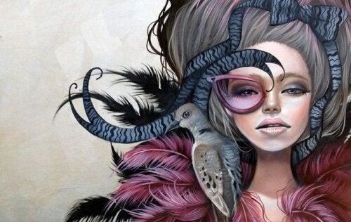 Donna-con-uccellino-sulla-spalla giudicare