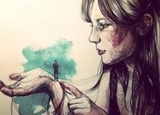 aspettarsi Donna con uomo diminuto sulla mano