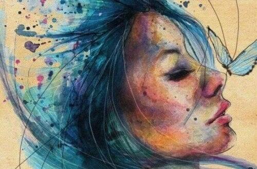 dipinto colorato di donna e farfalla