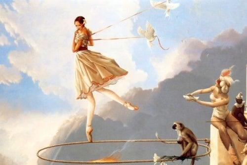 donna che vola e babbuino