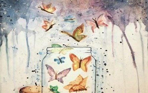 farfalle che escono da un barattolo