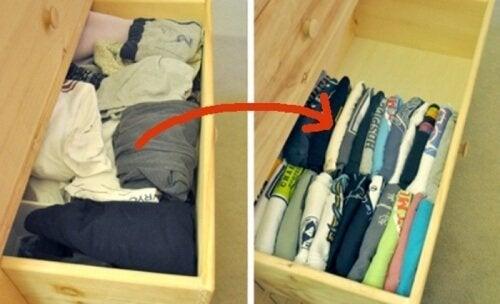 magliette nei cassetti armadio