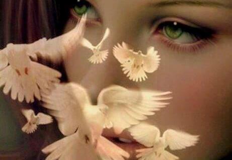 occhi di donna e colombe bianche