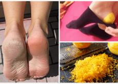 piedi e trattamento a base di scorza di limone