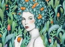 Donna con frutta in testa