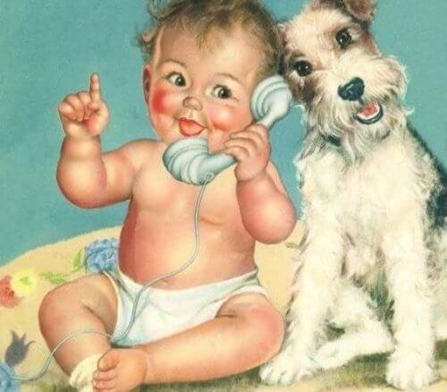 bebé con cane bambino