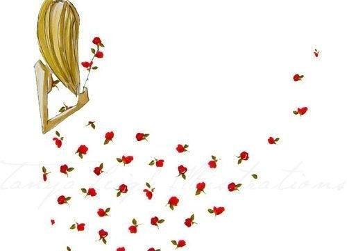 Donna con vestito di rose