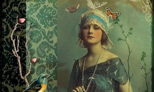 donna degli anni 20 con farfalle