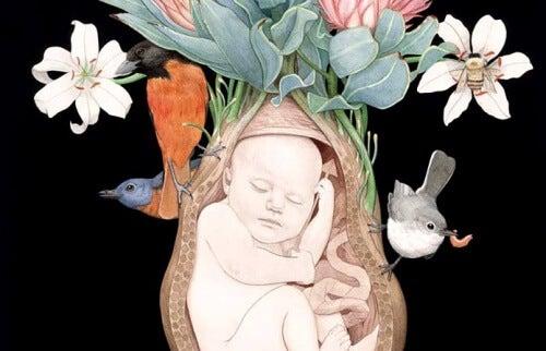 Neonato con fiori ed uccelli