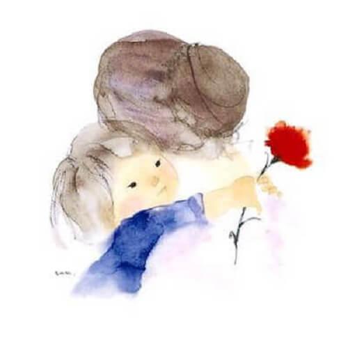 nonna e nipote con fiore