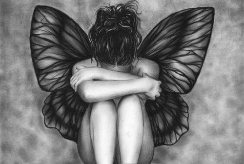 ragazza farfalla triste