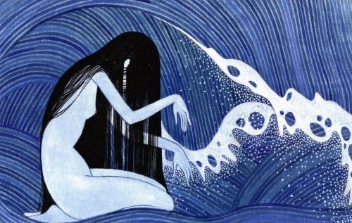 Donna nell'oceano