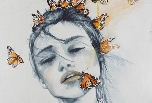 ragazza con farfalle