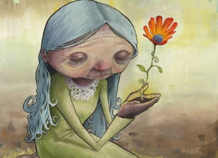 anziana con fiore - persone dal cuore giovane