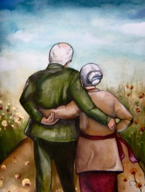 anziani abbracciati - persone dal cuore giovane