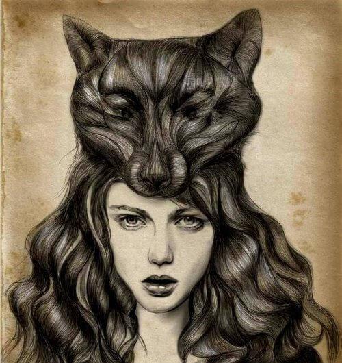 donna-con-lupo-in-testa-fatto-di-capelli