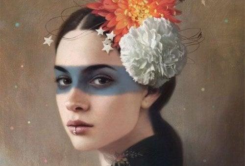 donna-con-fiori-in-testa-e-striscia-blu-negli-occhi