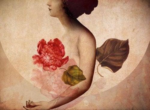 Donna con fiore rosso e luna