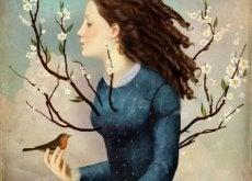 donna-fiori-e-uccello gesti