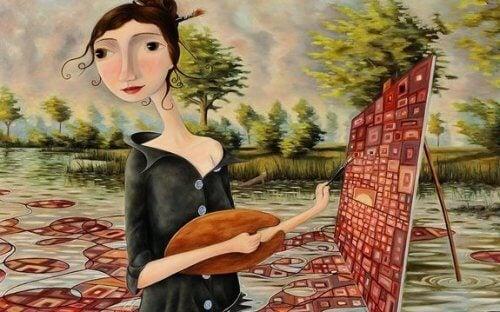 immagine-stilizzata-donna-che-dipinge