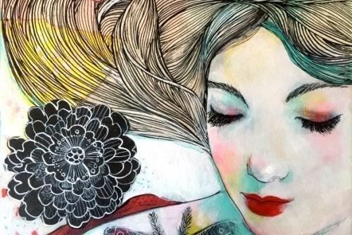 Dipinto di donna con fiore