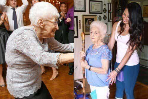 Donna di 87 anni cambia postura e vita grazie allo yoga