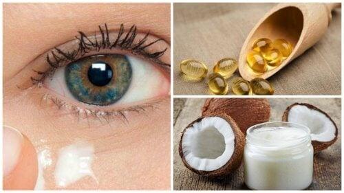 Crema naturale all'olio di cocco per rivitalizzare il contorno occhi