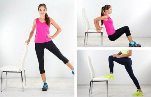 6 esercizi da realizzare con una sedia per eliminare i rotolini