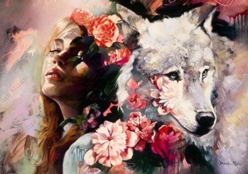 donna-con-lupo-e-fiorijpg