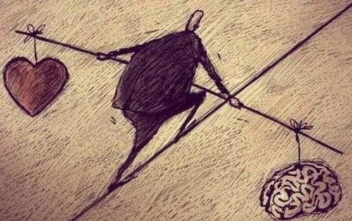 raffigurazione dell'equilibrio tra cuore e cervello