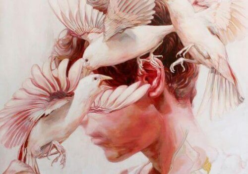 uccelli che volano vicino alla testa
