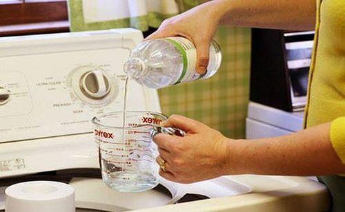 Donna versa l'aceto in lavatrice