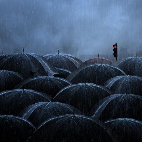 ombrelli neri sotto la pioggia