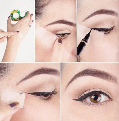 nastro adesivo per delineare gli occhi con l'eyeliner