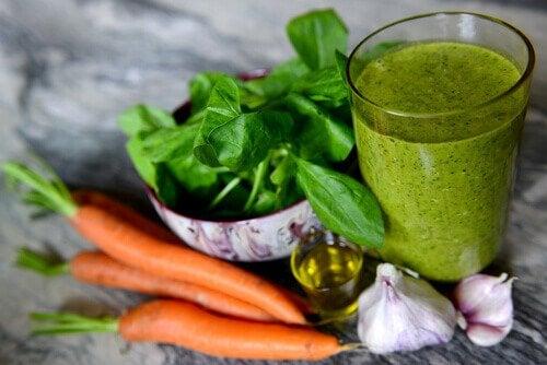 Frullato carote e spinaci