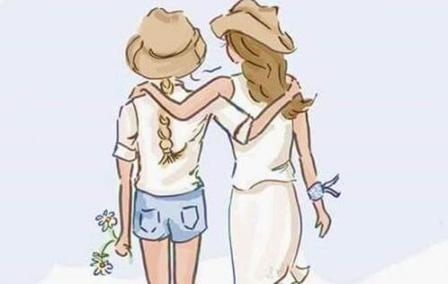 donne amiche che camminano a braccetto