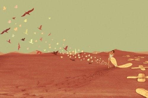 Donna con cerotti e uccelli