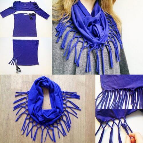 Sciarpa blu realizzata con una vecchia maglietta di cotone