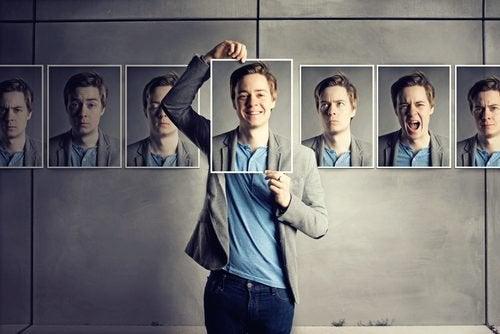 Uomo e foto con diverse espressioni