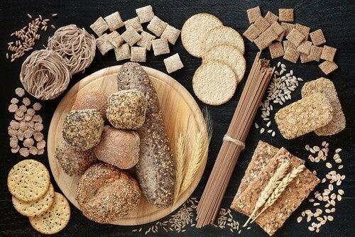 Varieta di cereali integrali.