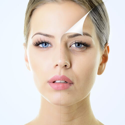 Volto di donna che mostra l'invecchiamento della pelle